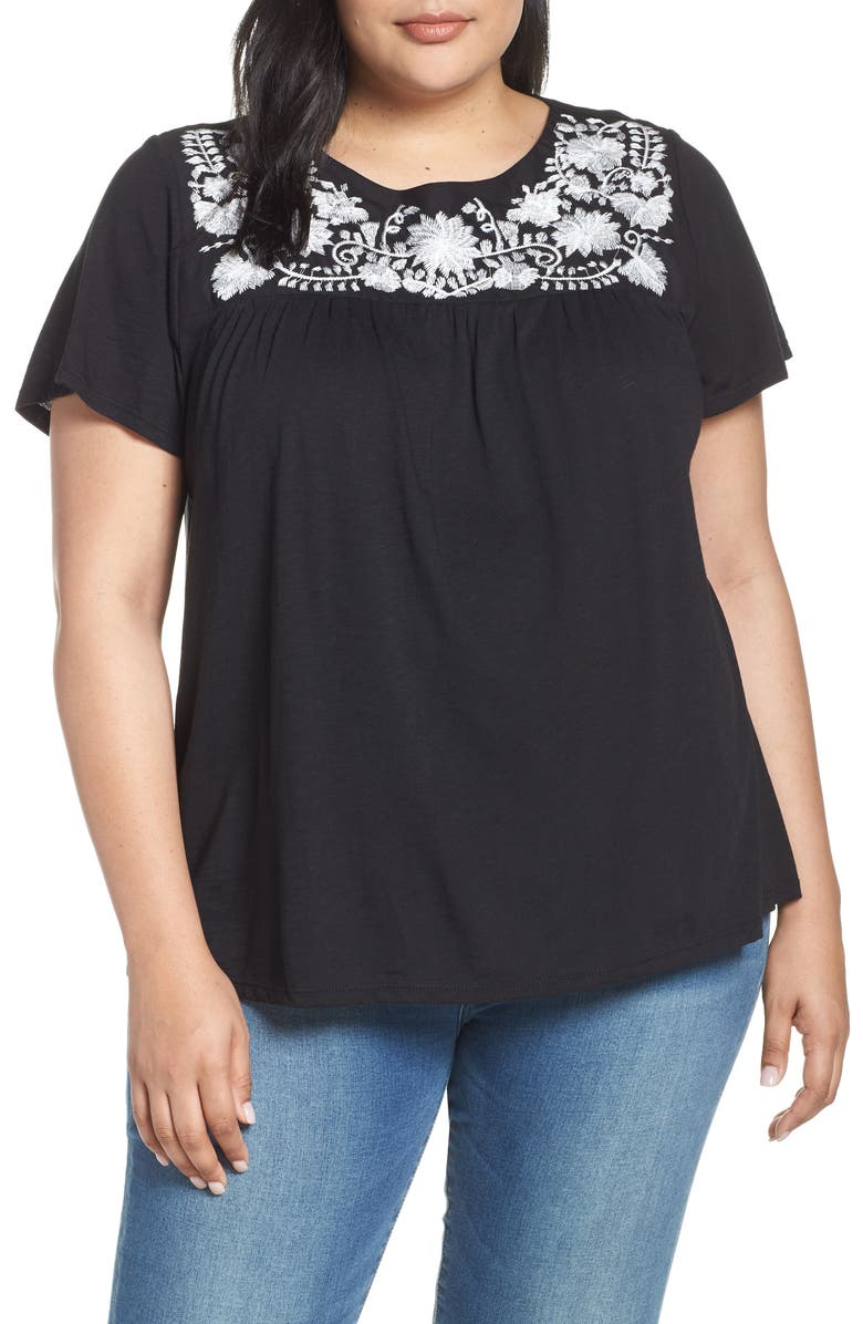 GIBSON x Hi Sugarplum! Savannah Embroidered Yoke Tee, Main, color, BLACK COMBO