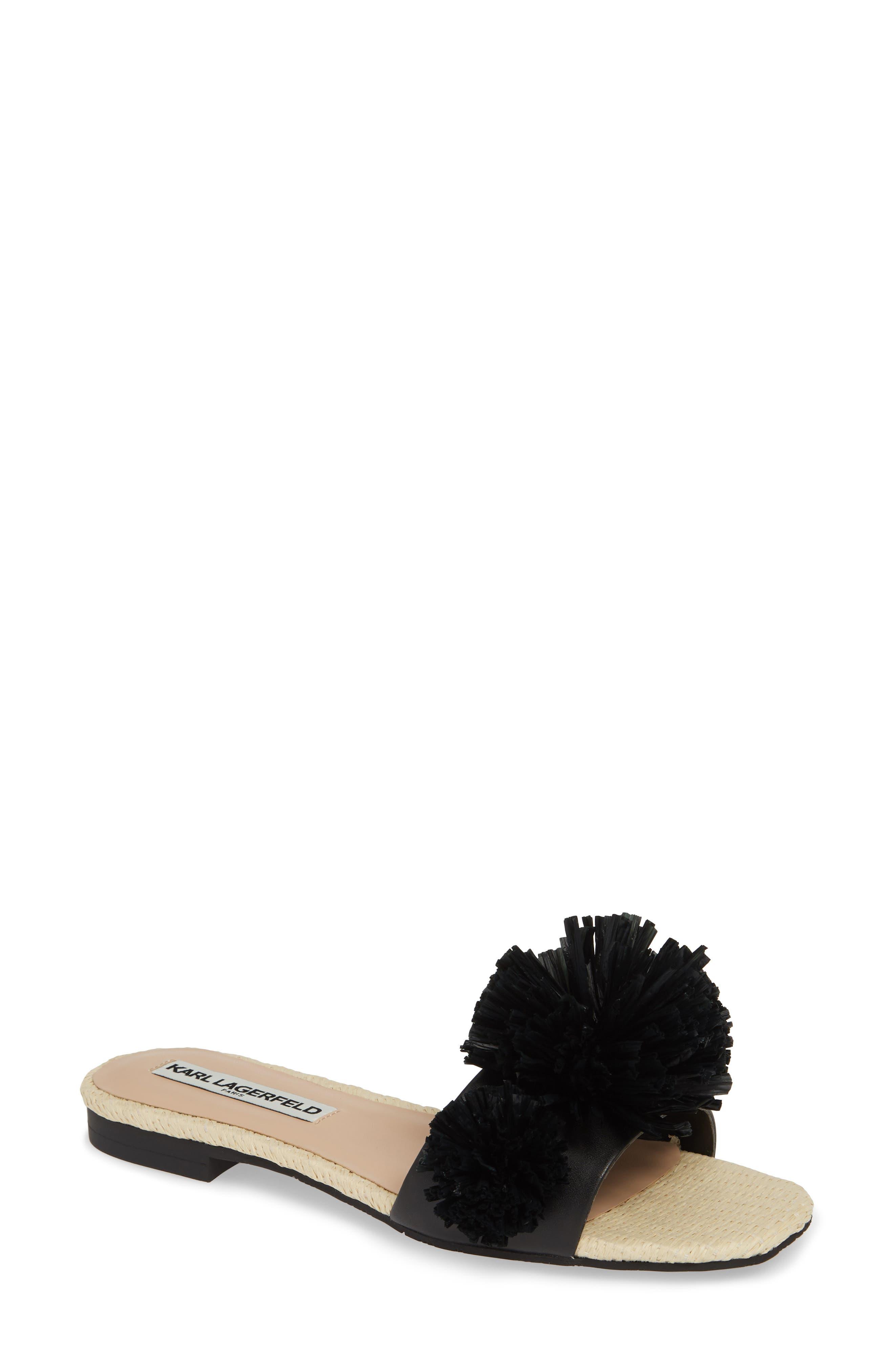 Rainey Slide Sandal, Main, color, BLACK LEATHER