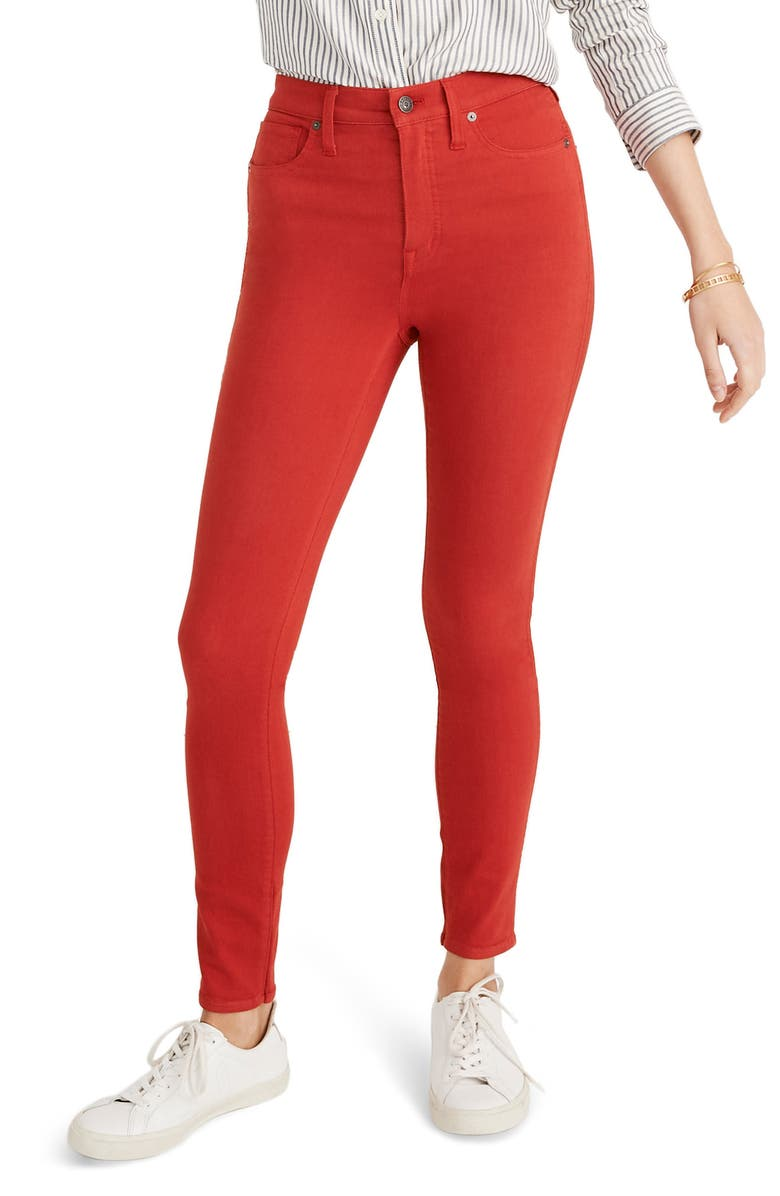 MADEWELL 10-Inch Garment Dyed High Waist Skinny Jeans, Main, color, BRIGHT EMBER