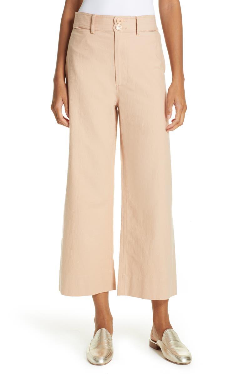 APIECE APART Merida High Waist Crop Pants, Main, color, 100