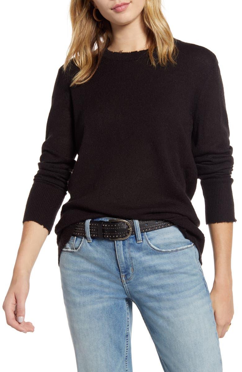 TREASURE & BOND Distressed Pullover, Main, color, BLACK