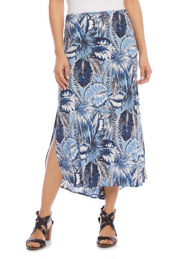 Karen Kane Floral Print Bias Cut Skirt In Blue Print