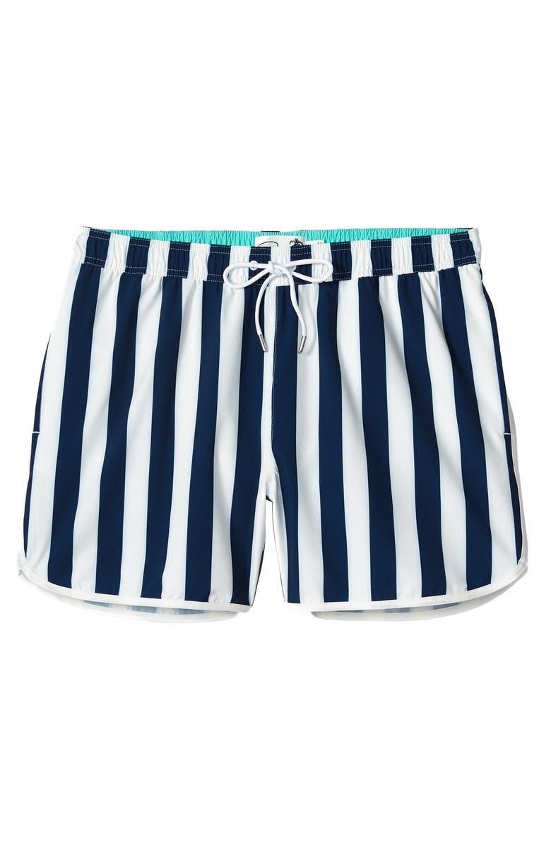BONOBOS 7-Inch E-Waist Swim Trunks, Main, color, ATRANI STRIPE C11 - NAVY/WHITE