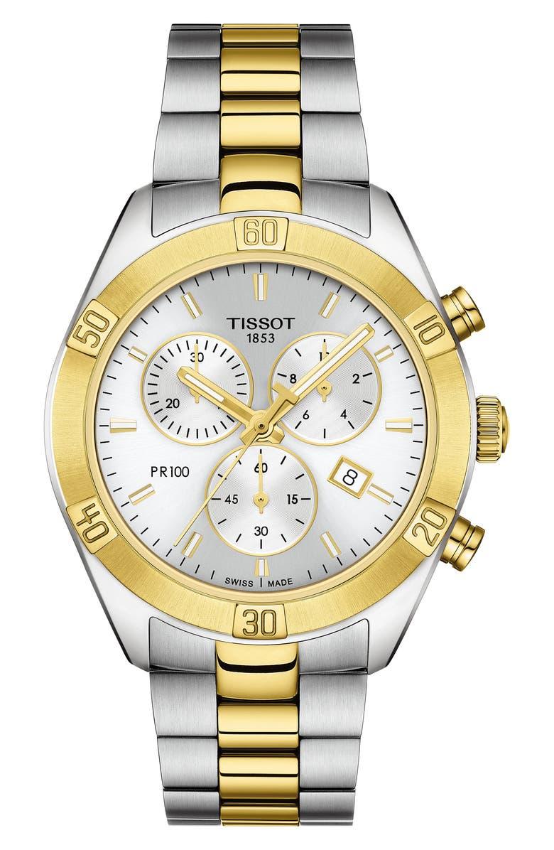TISSOT PR 100 Classic Chronograph Bracelet Watch, 38mm, Main, color, SILVER/ GOLD