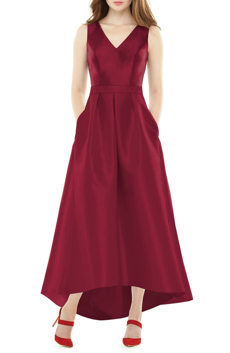 ALFRED SUNG High/Low Sateen Twill Gown, Main, color, BURGUNDY