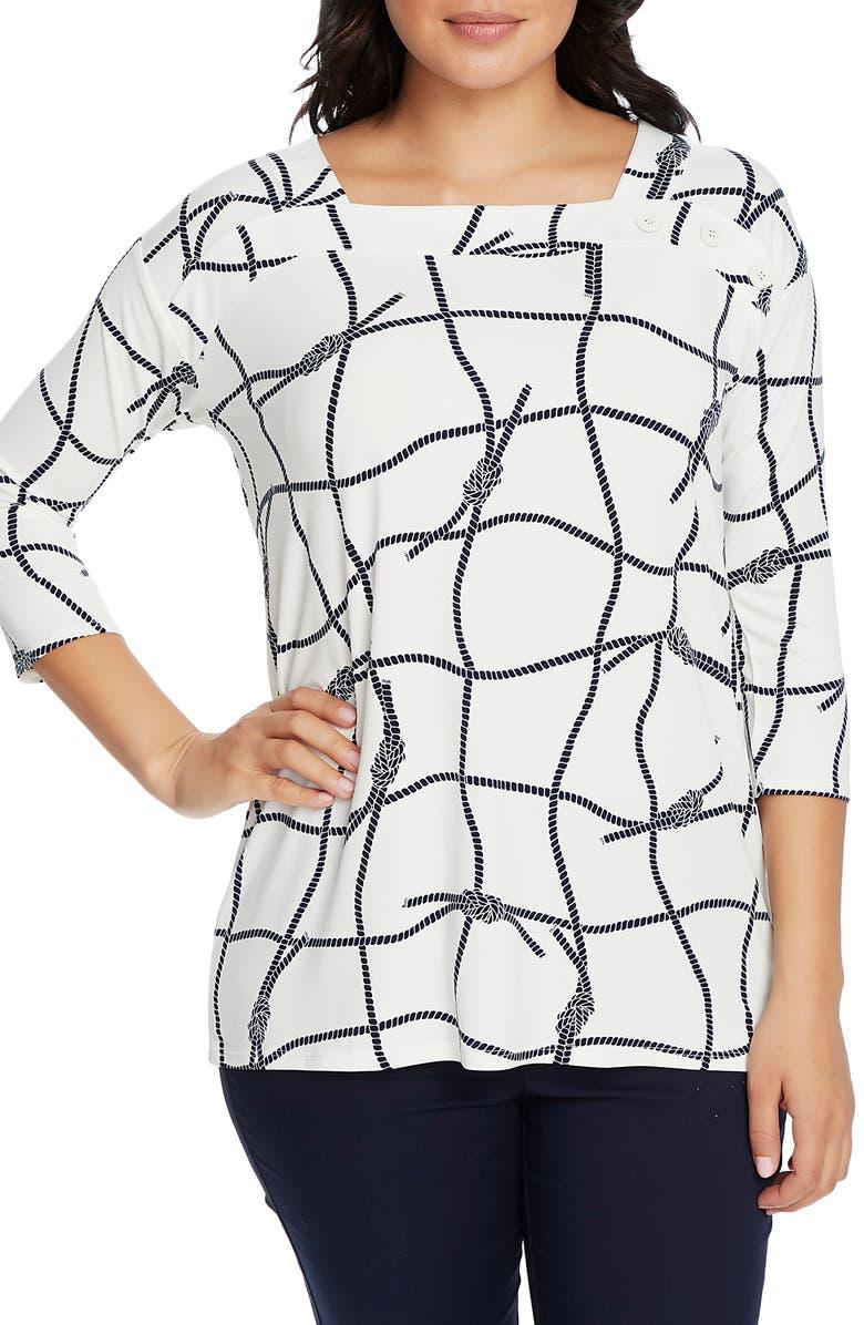 CHAUS Nautical Ropes Button Shoulder Shirt, Main, color, ANTIQUE WHITE