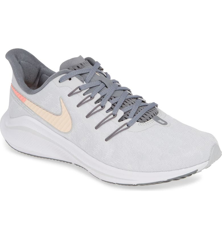 NIKE Air Zoom Vomero 14 Running Shoe, Main, color, PURE PLATINUM/ CRIMSON/ GREY