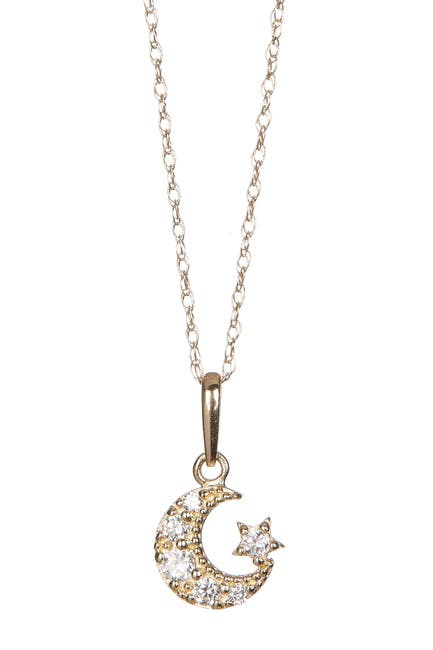 Image of Candela 14K Yellow Gold CZ Moon & Star Pendant Necklace