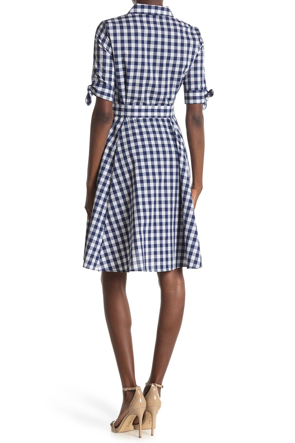 Image of Calvin Klein Short Sleeve Checkered Print Dress