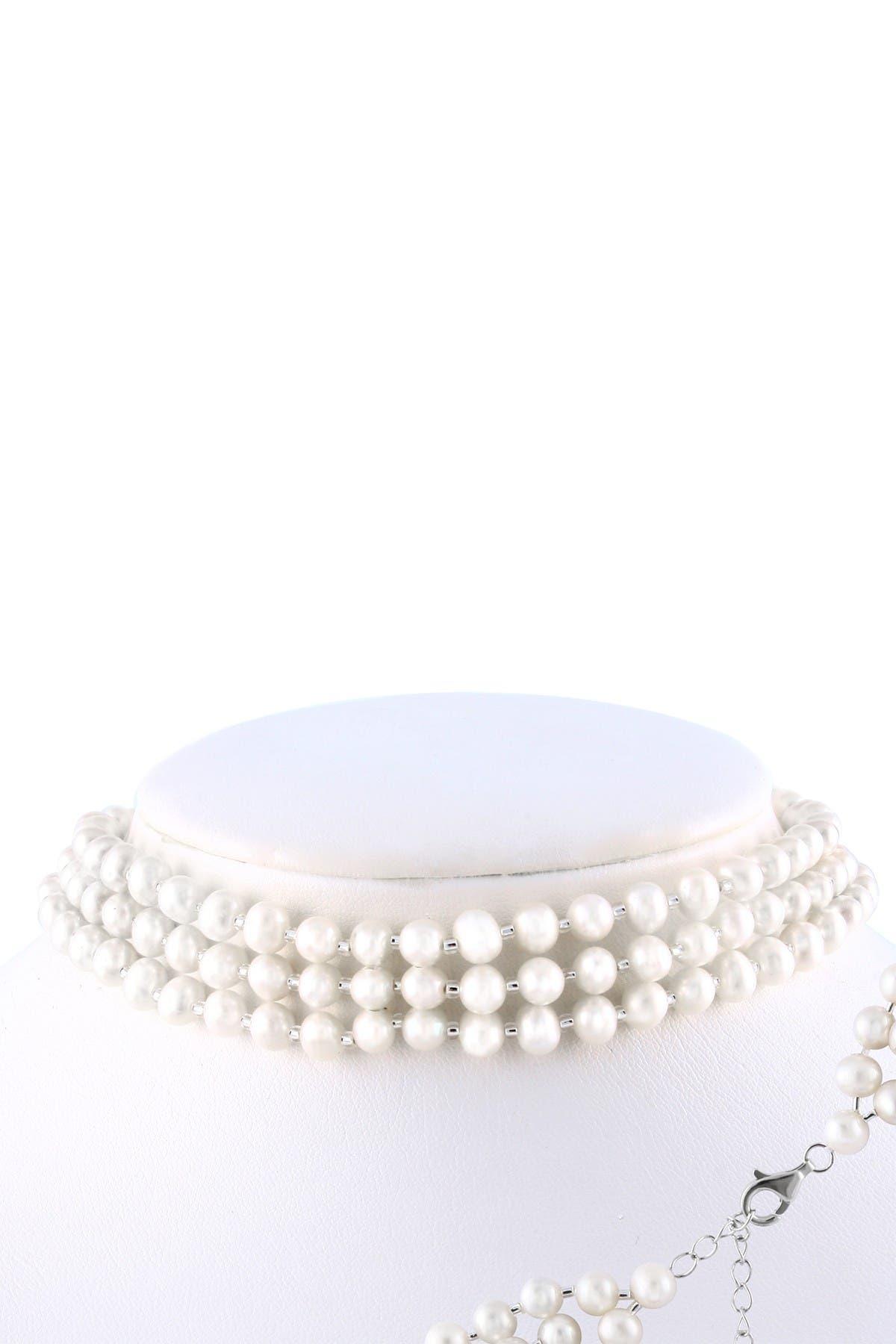 Image of Splendid Pearls 5-6mm Freshwater Pearl Triple Row Choker Necklace