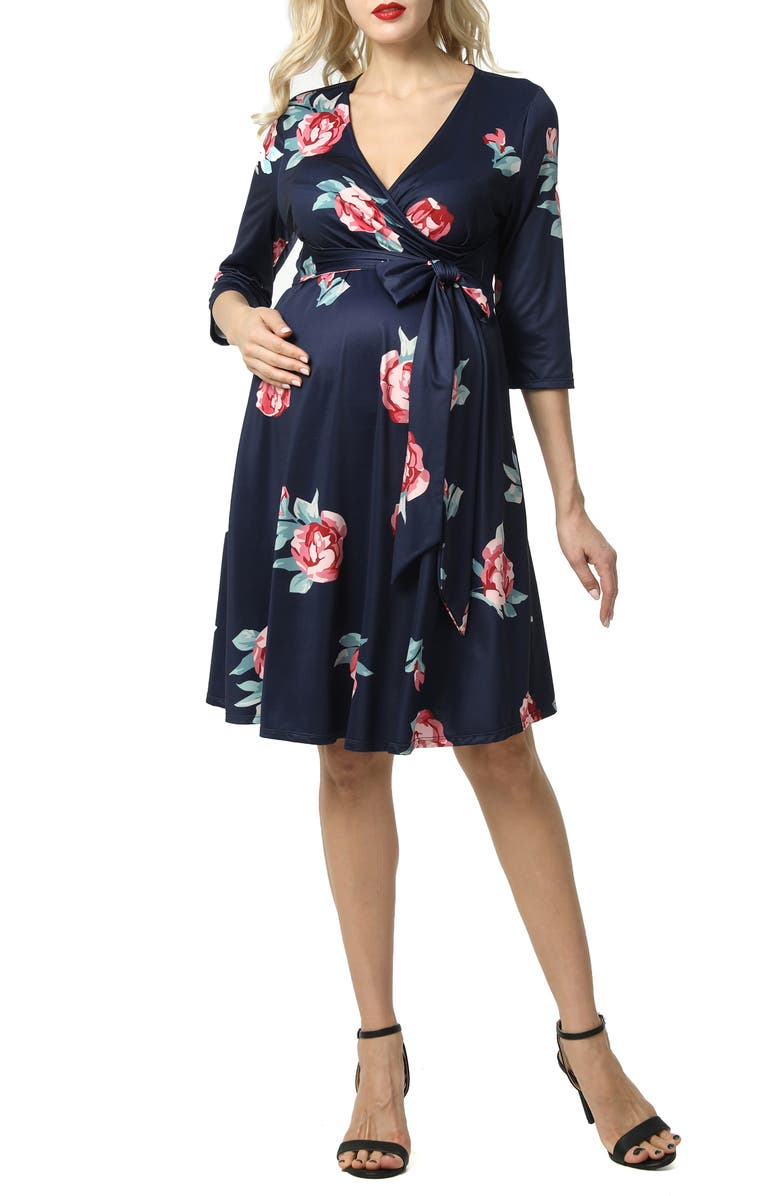 KIMI AND KAI Althea Faux Wrap Maternity Dress, Main, color, NAVY