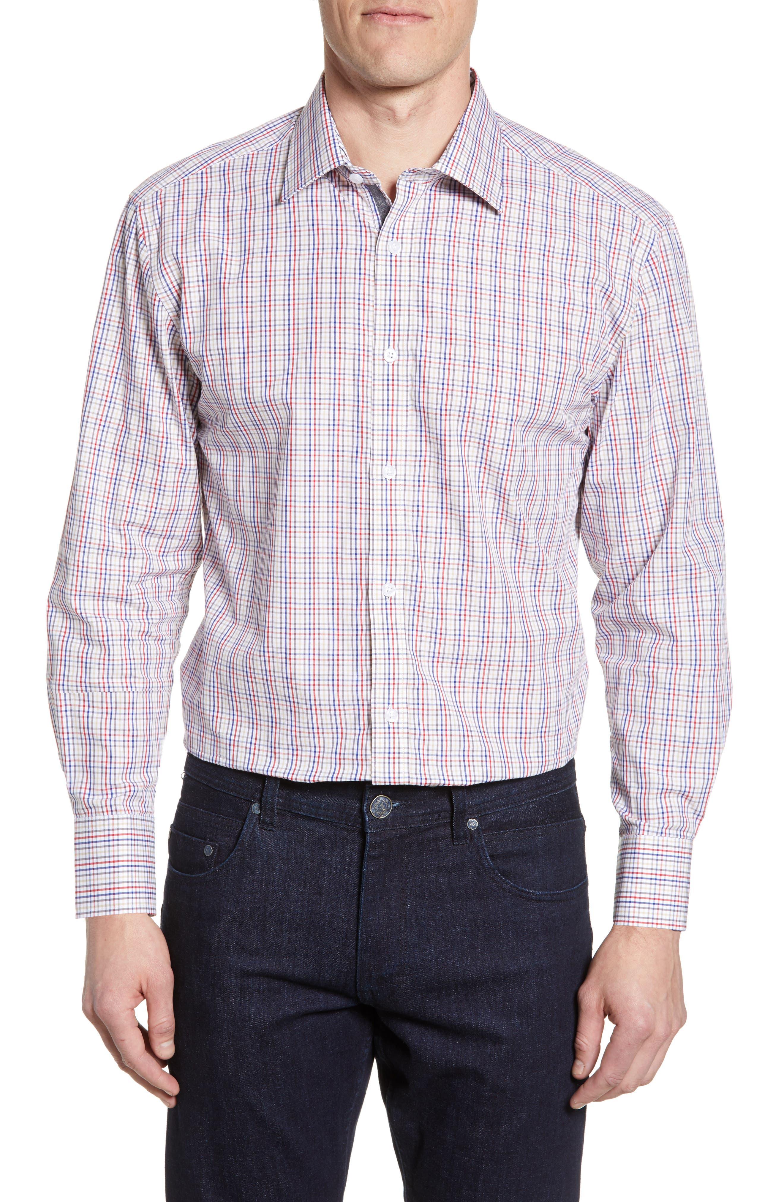 Image of English Laundry Trim Fit Plaid Dress Shirt