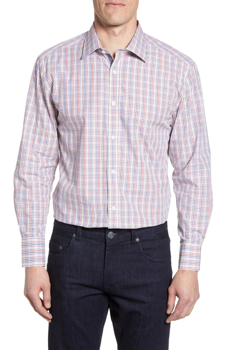 ENGLISH LAUNDRY Trim Fit Plaid Dress Shirt, Main, color, RED