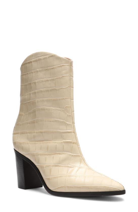 Schutz Women's Vonna Croc Embossed High Block Heel Booties In Almond Buff