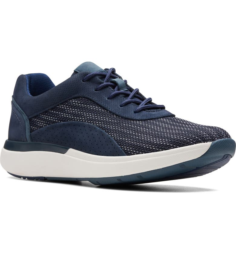 CLARKS<SUP>®</SUP> Un Cruise Lace-Up Sneaker, Main, color, NAVY TEXTILE/ NUBUCK COMBI