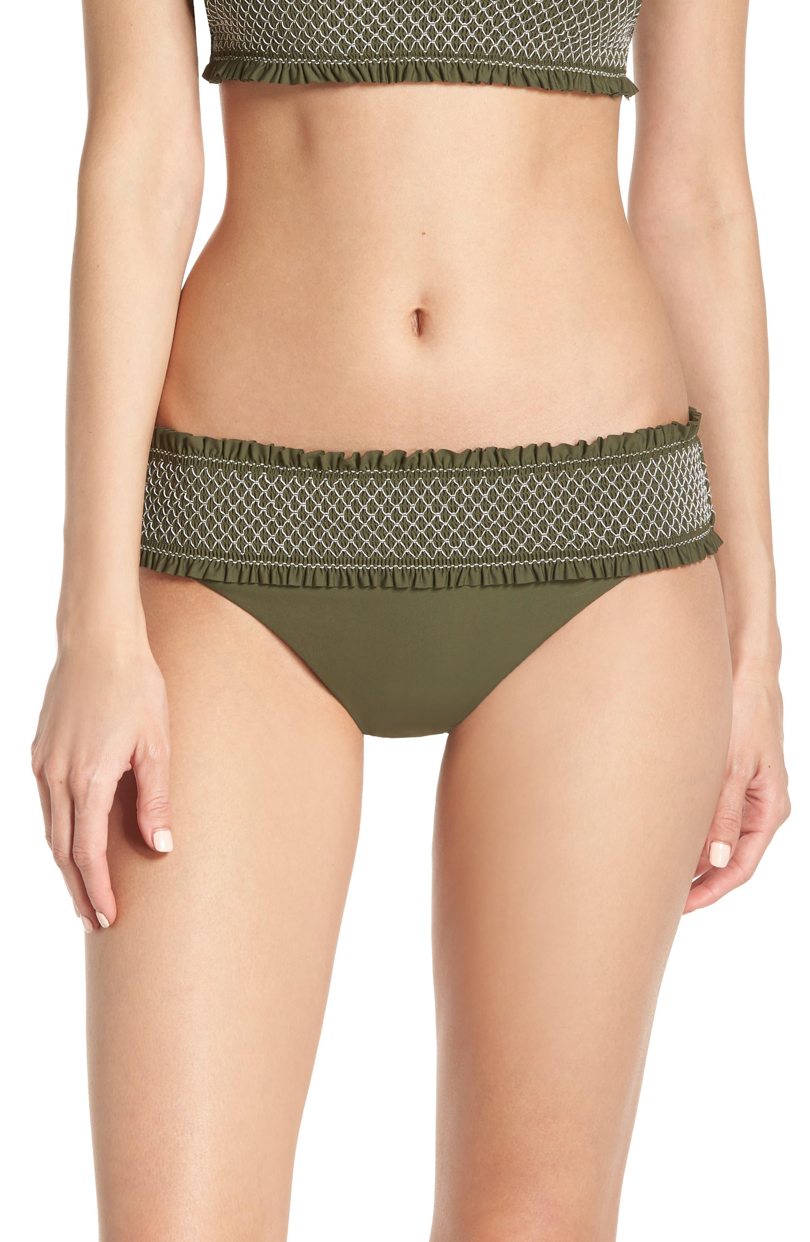 Chelsea28 Smocked Hipster Bikini Bottoms, Green