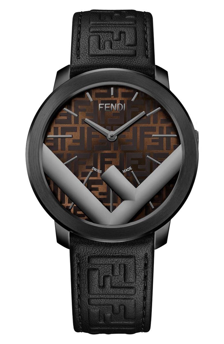 FENDI Run Away Leather Strap Watch, 41mm, Main, color, BLACK/ BROWN