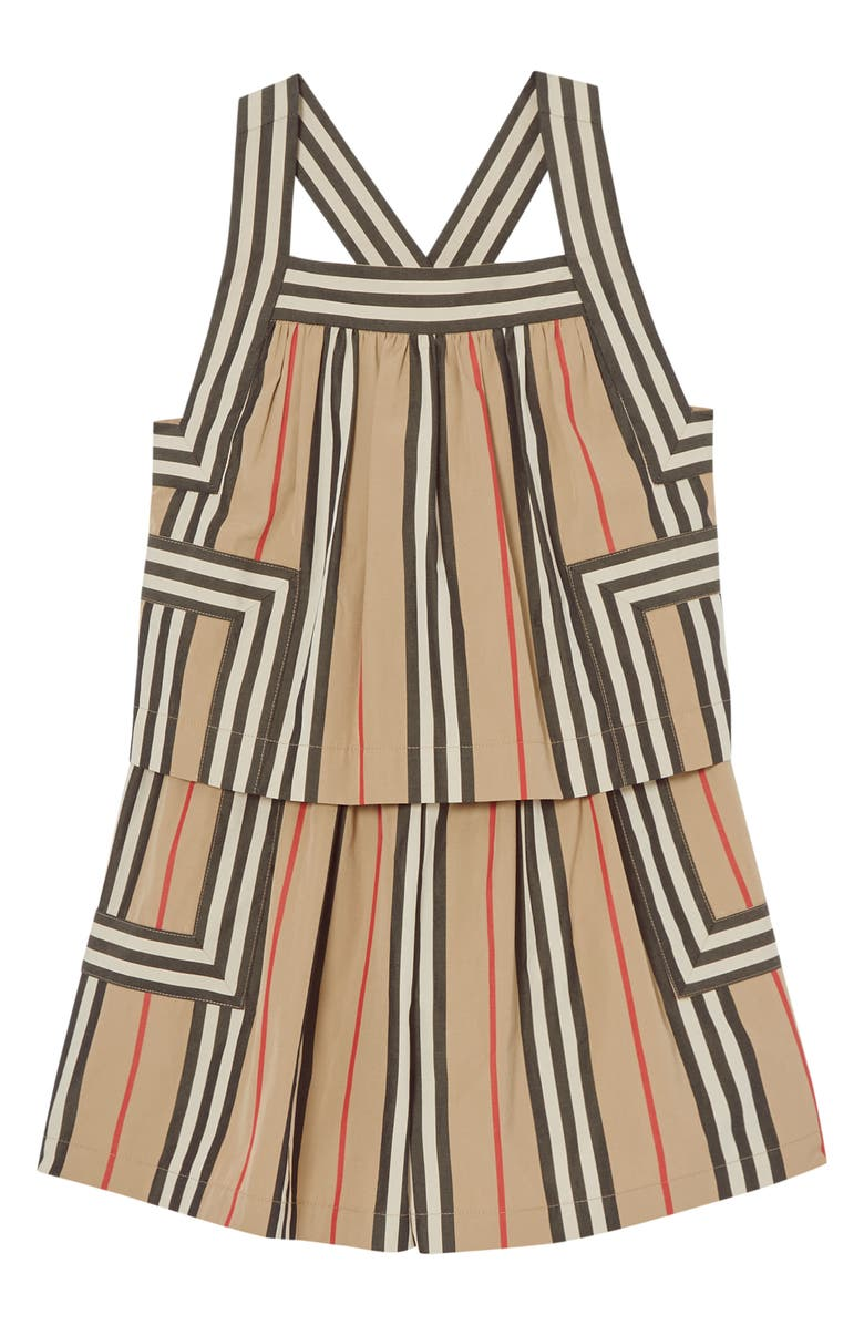 BURBERRY Florence Icon Stripe Poplin Romper, Main, color, ARCHIVE BEIGE