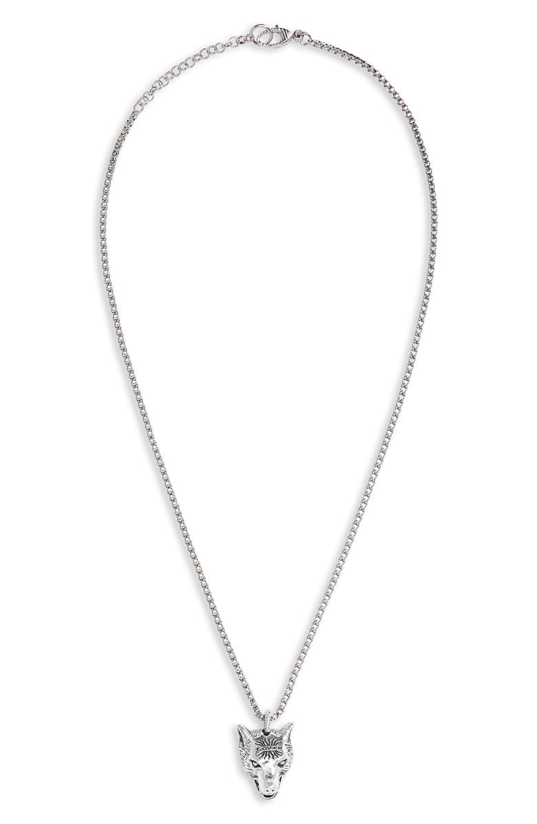 GUCCI Wolf Head Sterling Silver Necklace, Main, color, SILVER