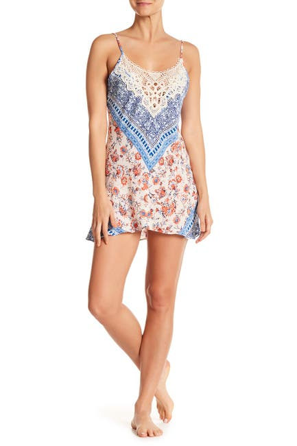 Image of In Bloom by Jonquil Sky Crochet Lace Mixed Print Chemise