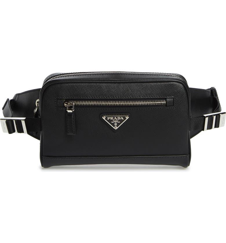 PRADA Saffiano Leather Belt Bag, Main, color, BLACK