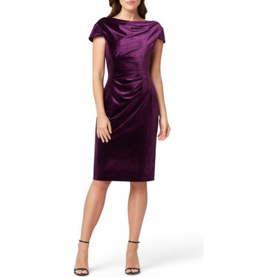 Tahari Cowl Neck Velvet Sheath Dress, Purple