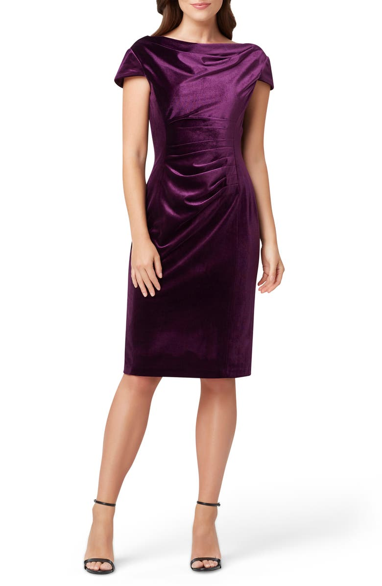 TAHARI Cowl Neck Velvet Sheath Dress, Main, color, 500
