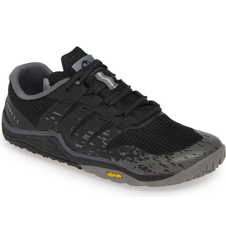 MERRELL Trail Glove 5 Running Shoe, Main, color, BLACK FABRIC