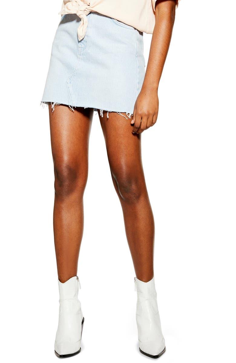TOPSHOP Denim Miniskirt, Main, color, BLEACH