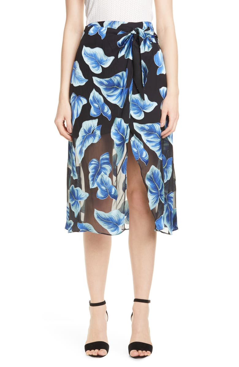ALICE + OLIVIA Lumi Tie Wrap Midi Skirt, Main, color, 001