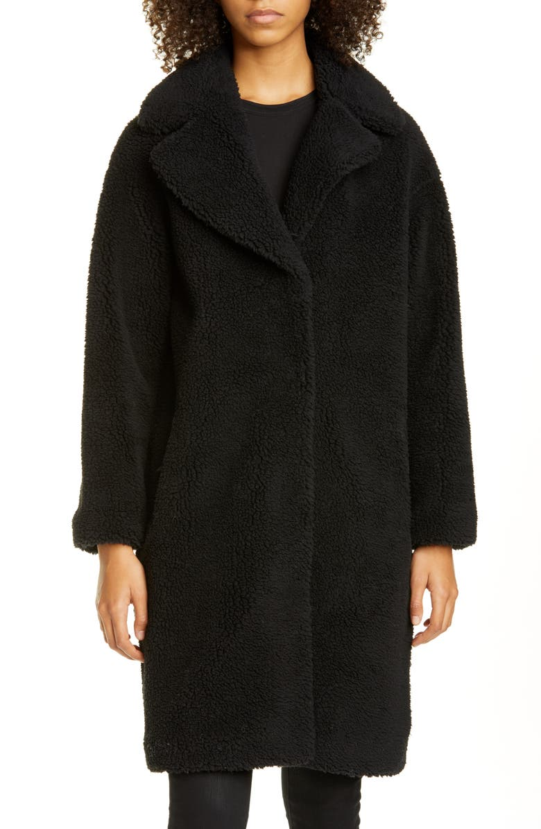 STAND STUDIO Camille Teddy Faux Fur Cocoon Coat, Main, color, 8990 BLACK