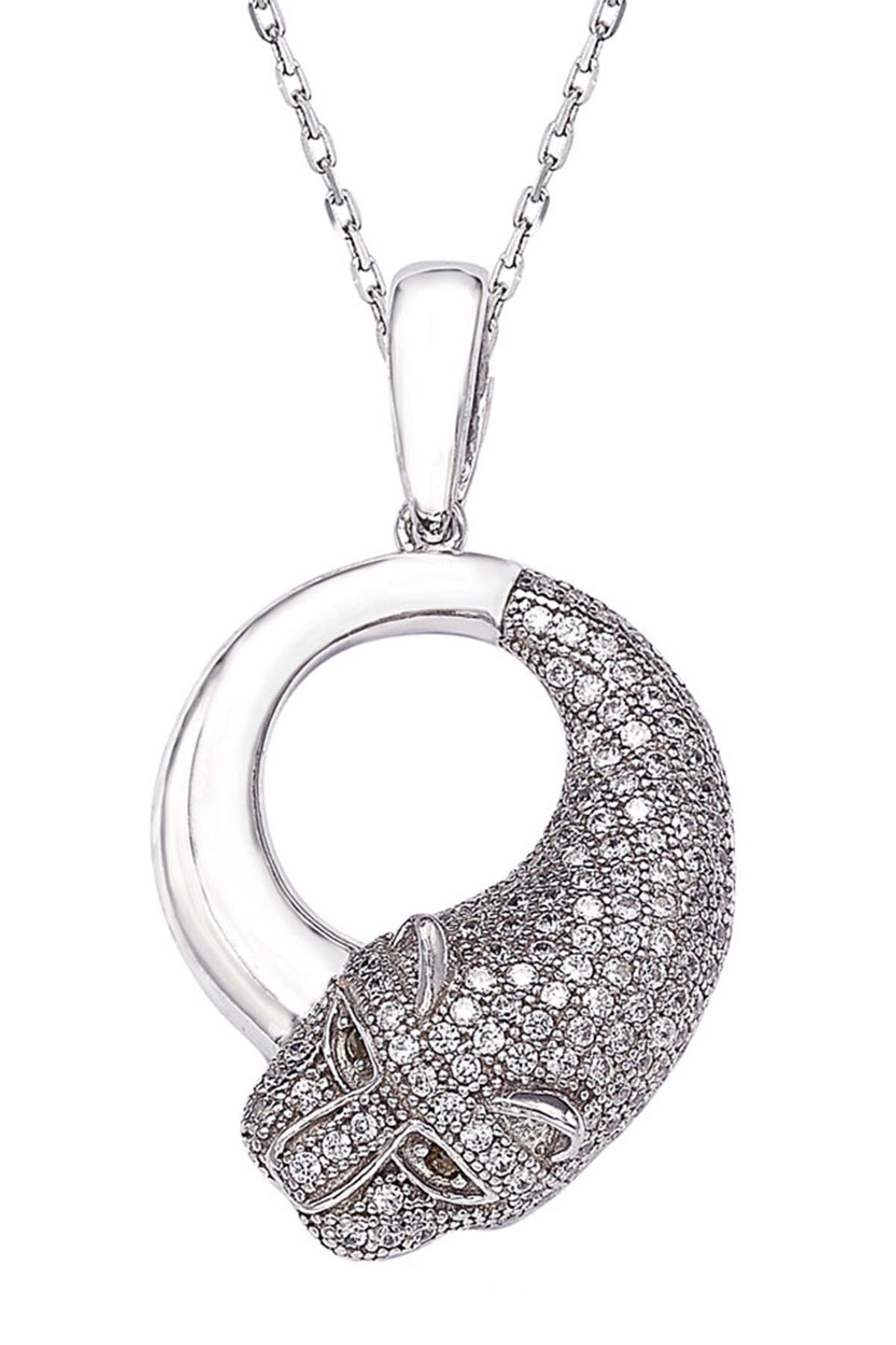 Image of Suzy Levian Sterling Silver CZ Panther Pendant Necklace