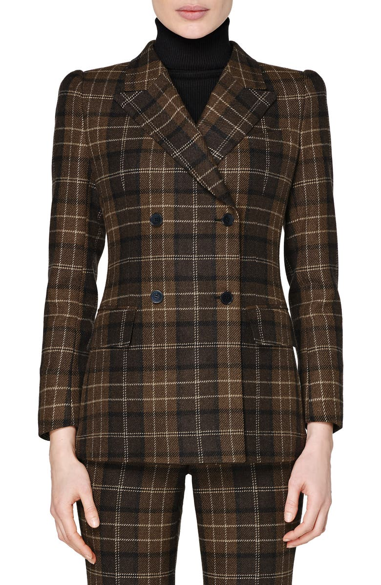 SUISTUDIO Alex Plaid Double Breasted Roped Shoulder Wool & Cashmere Jacket, Main, color, 200