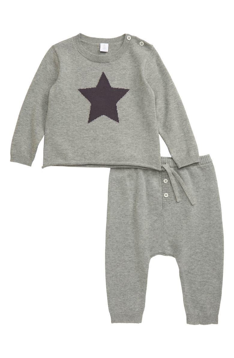NORDSTROM Star Intarsia Pullover & Pants Set, Main, color, GREY MEDIUM HEATHER STAR