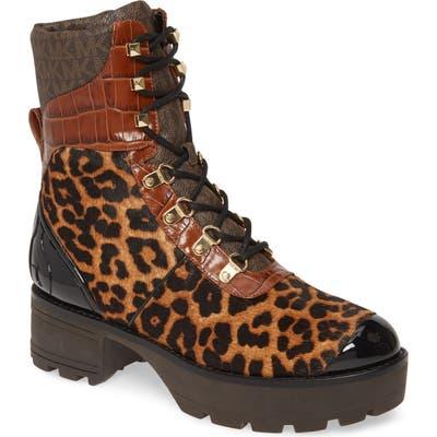 Michael Michael Kors Khloe Genuine Calf Hair Combat Boot, Brown