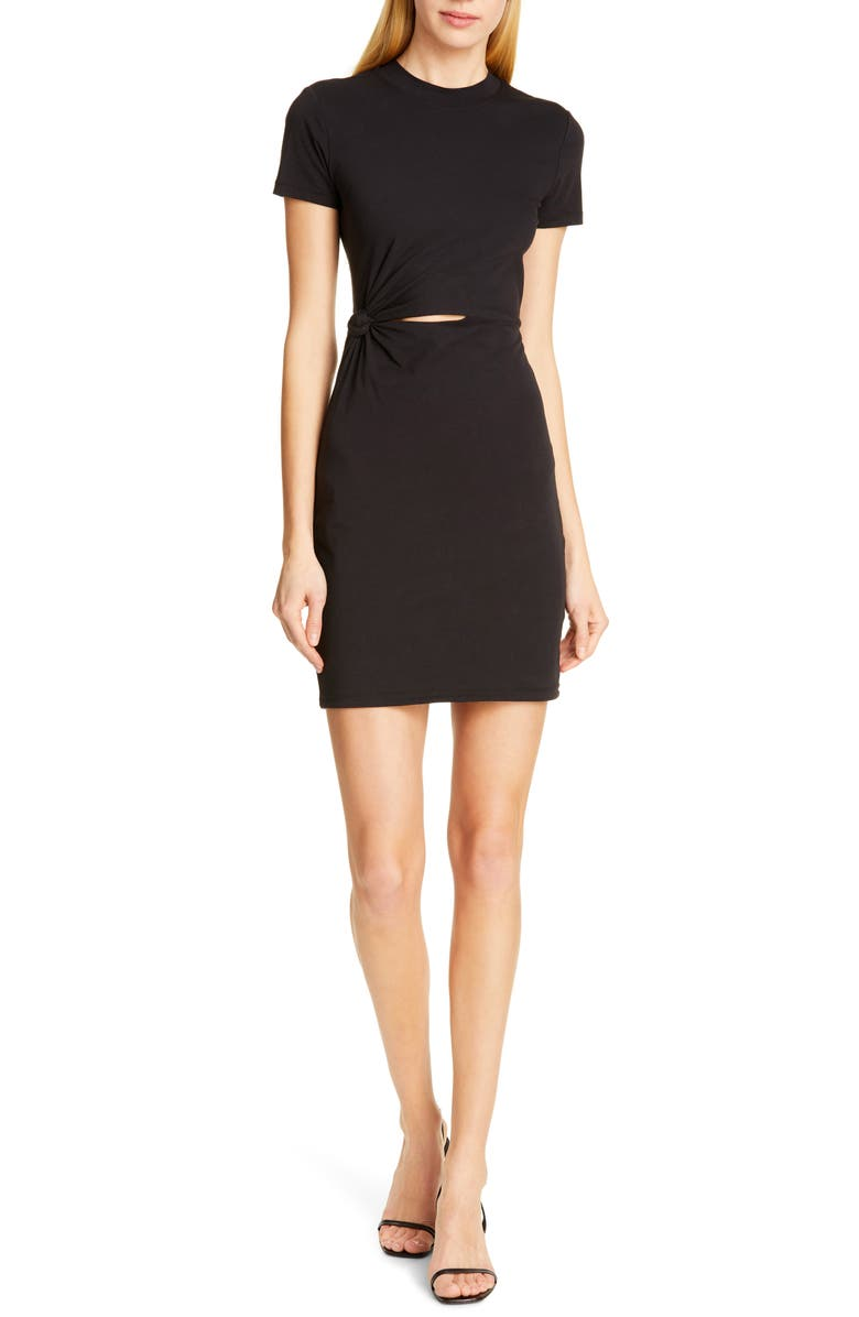 ALEXANDERWANG.T Cutout Twist Compact Jersey Dress, Main, color, BLACK