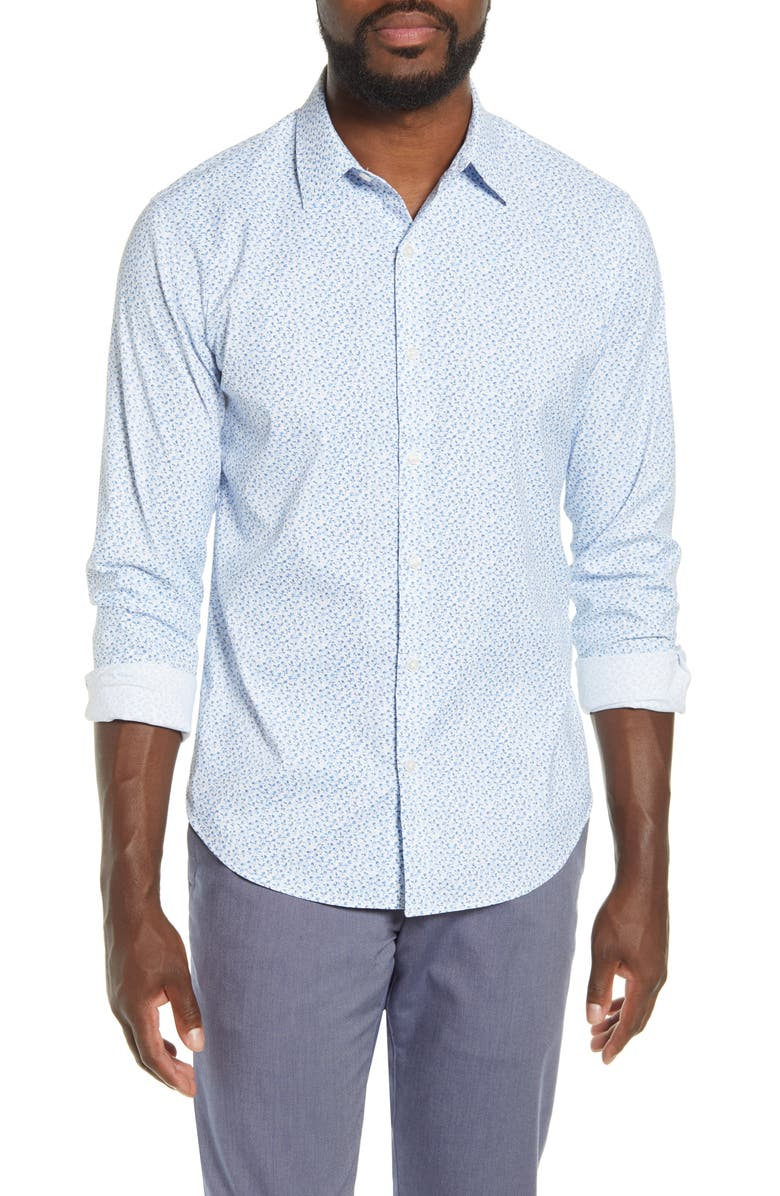 BONOBOS Tech Slim Fit Floral Button-Up Shirt, Main, color, HARLEY FLORAL CANNES