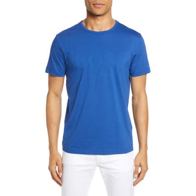 Boss Regular Fit Textured Logo T-Shirt, Blue