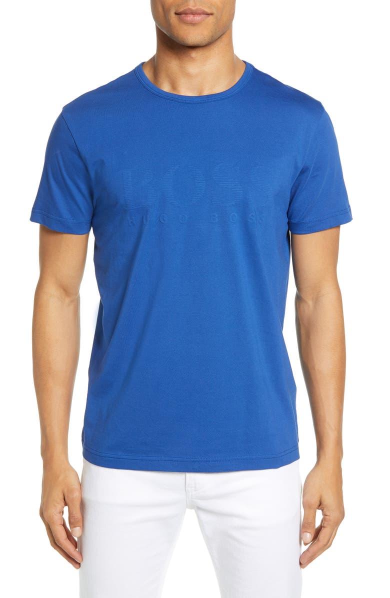 BOSS Regular Fit Textured Logo T-Shirt, Main, color, BLUE