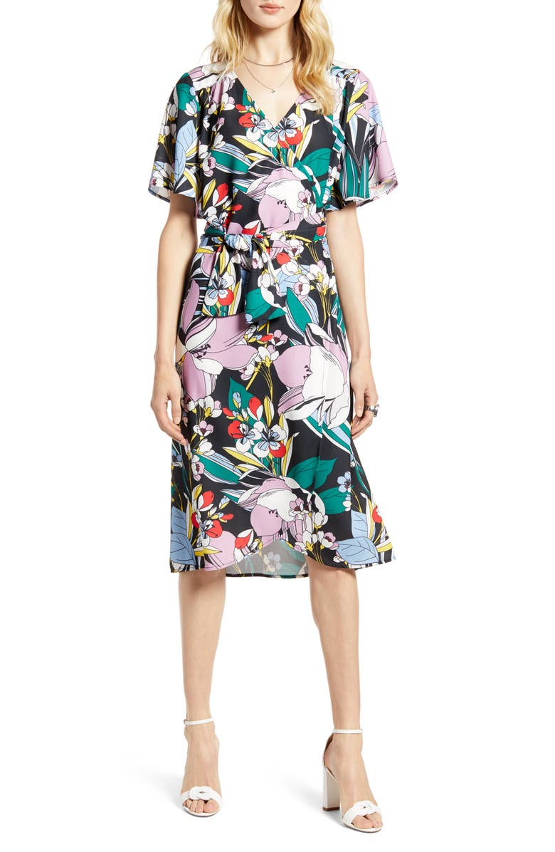 HALOGEN<SUP>®</SUP> Wrap Dress, Main, color, BLACK MULTI FLORAL PRINT
