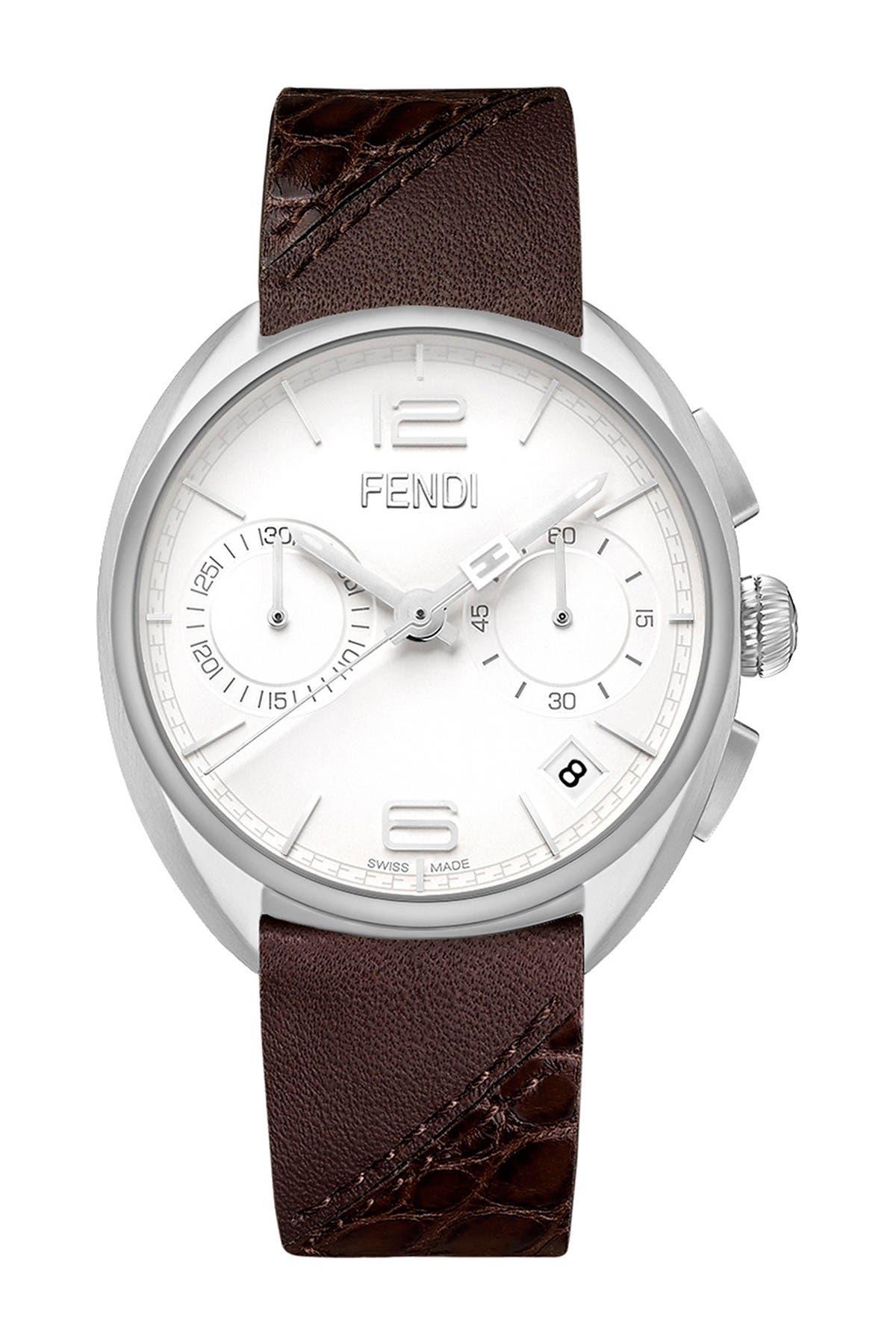 Image of FENDI Men's Momento Genuine Alligator & Calfskin Leather Strap Watch, 40 mm