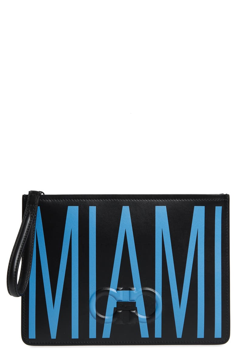 SALVATORE FERRAGAMO Miami Leather Pouch, Main, color, BLACK/ CHINA BLUE