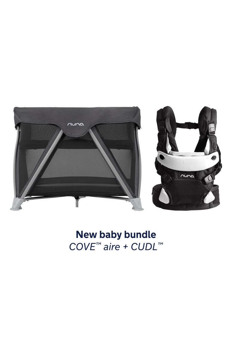 NUNA COVE Aire Travel Crib & CUDL Baby Carrier Set, Main, color, CAVIAR