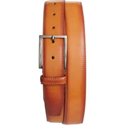 Nordstrom Shop Marco Burnished Leather Belt, Cognac