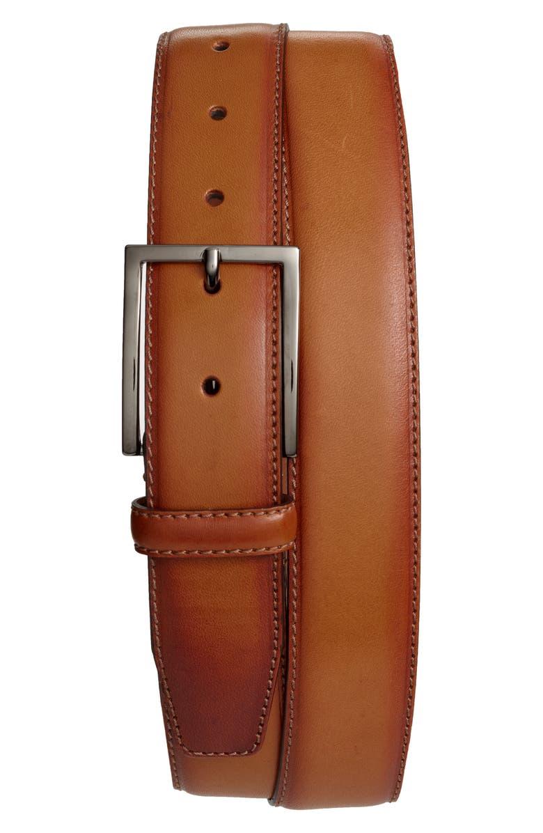NORDSTROM MEN'S SHOP Marco Burnished Leather Belt, Main, color, COGNAC