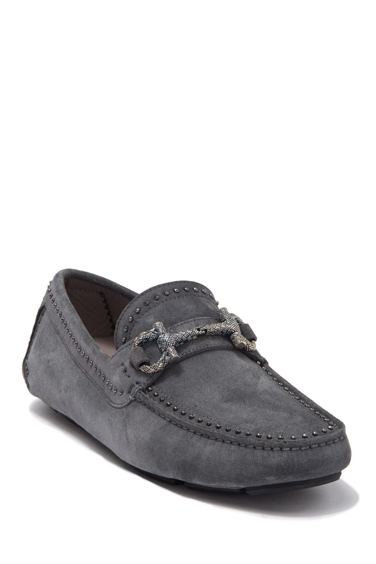 Image of Salvatore Ferragamo Horsebit Studded Leather Loafer