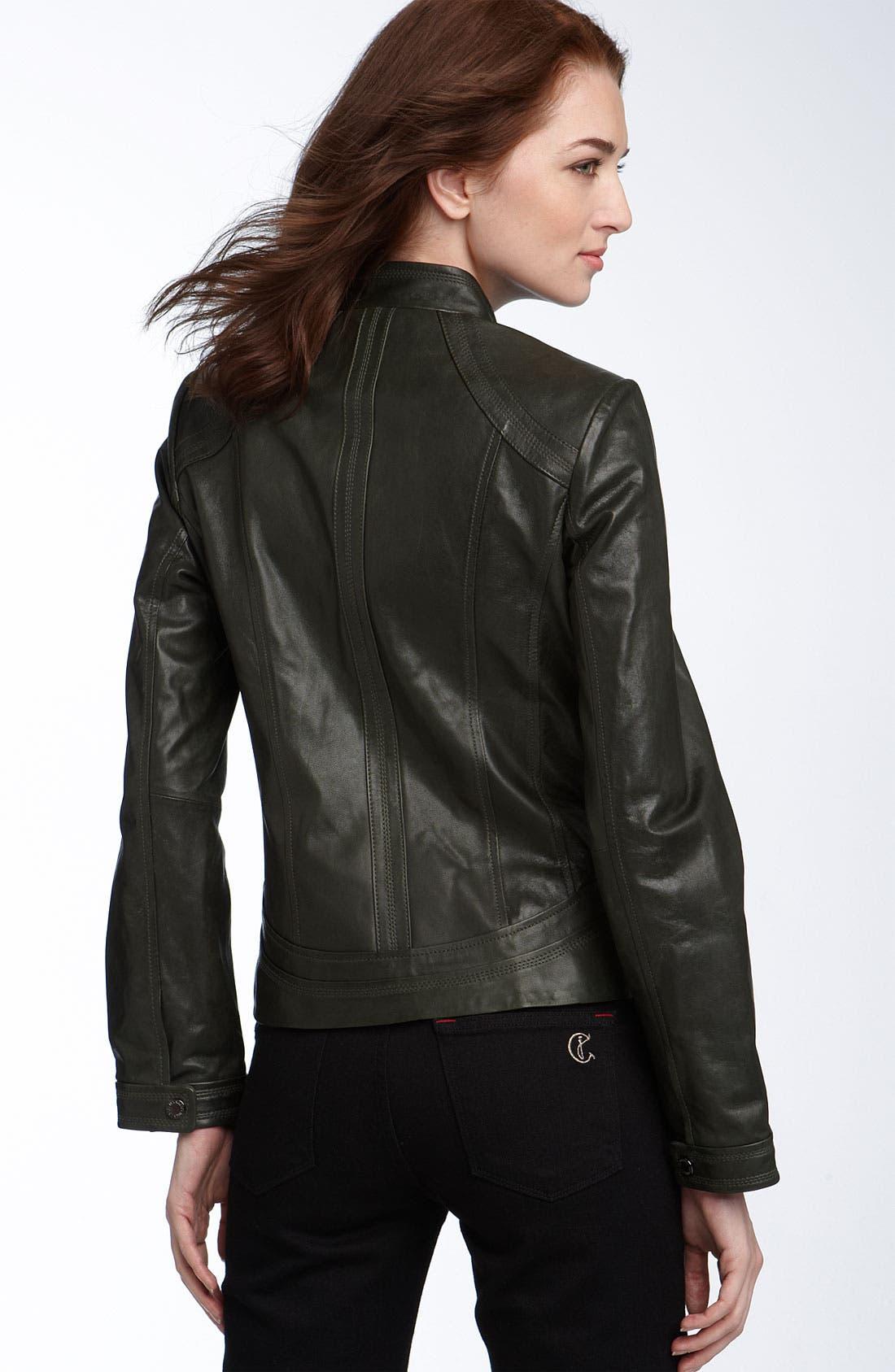 ,                             Seamed Lambskin Leather Scuba Jacket,                             Alternate thumbnail 4, color,                             364
