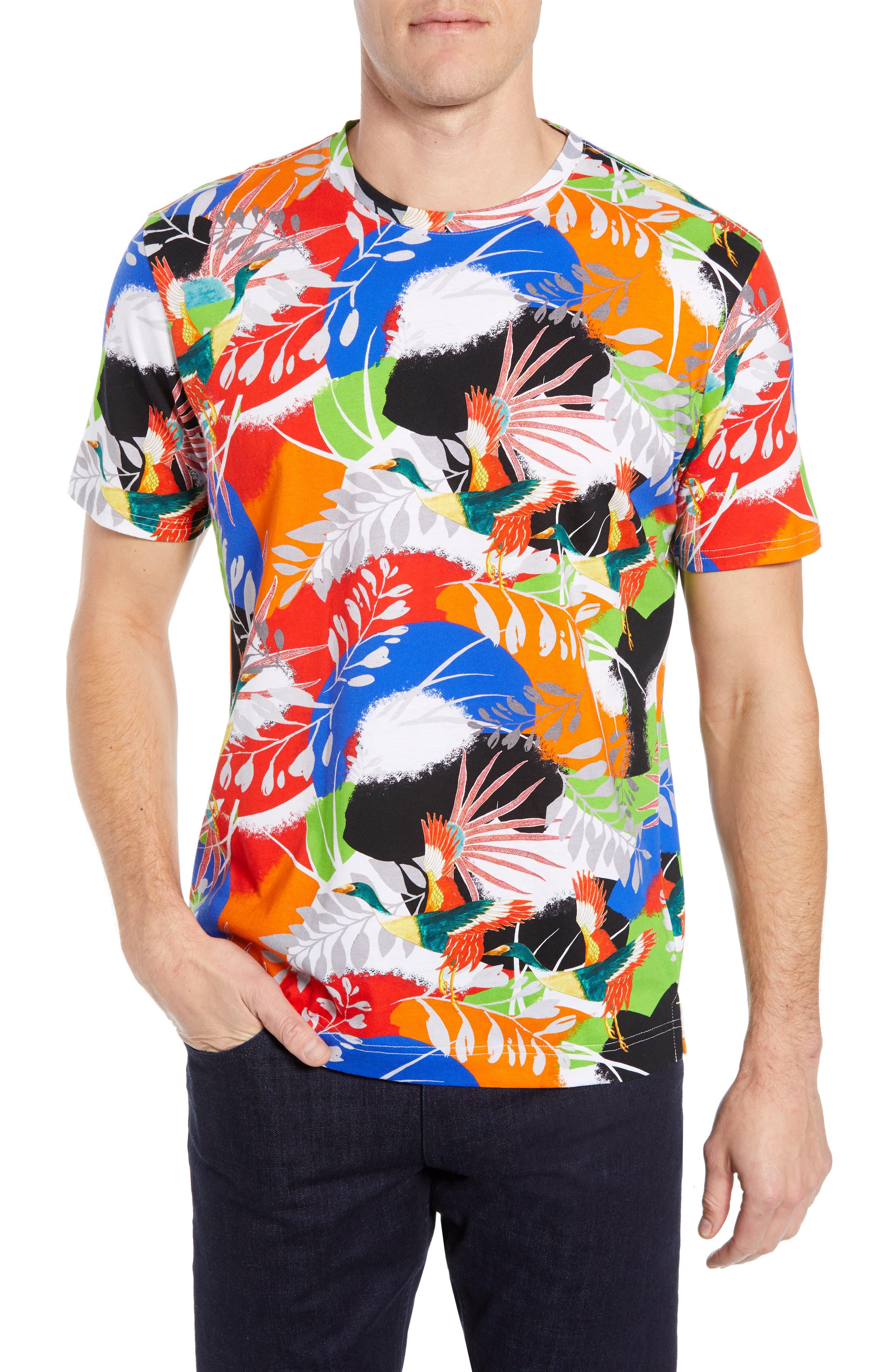 ,                             Flying Crane Tailored Fit T-Shirt,                             Main thumbnail 1, color,                             MULTI BLUE