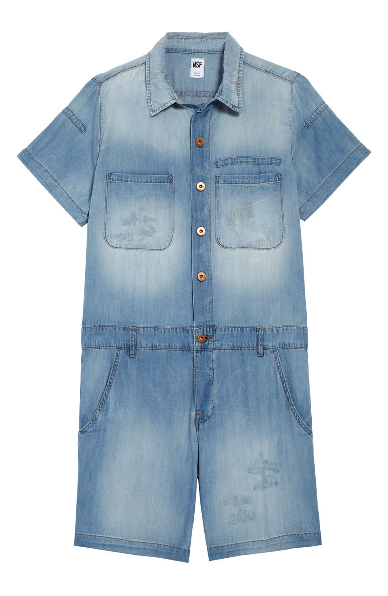 NSF CLOTHING Abel Chambray Mechanic Romper, Main, color, 464