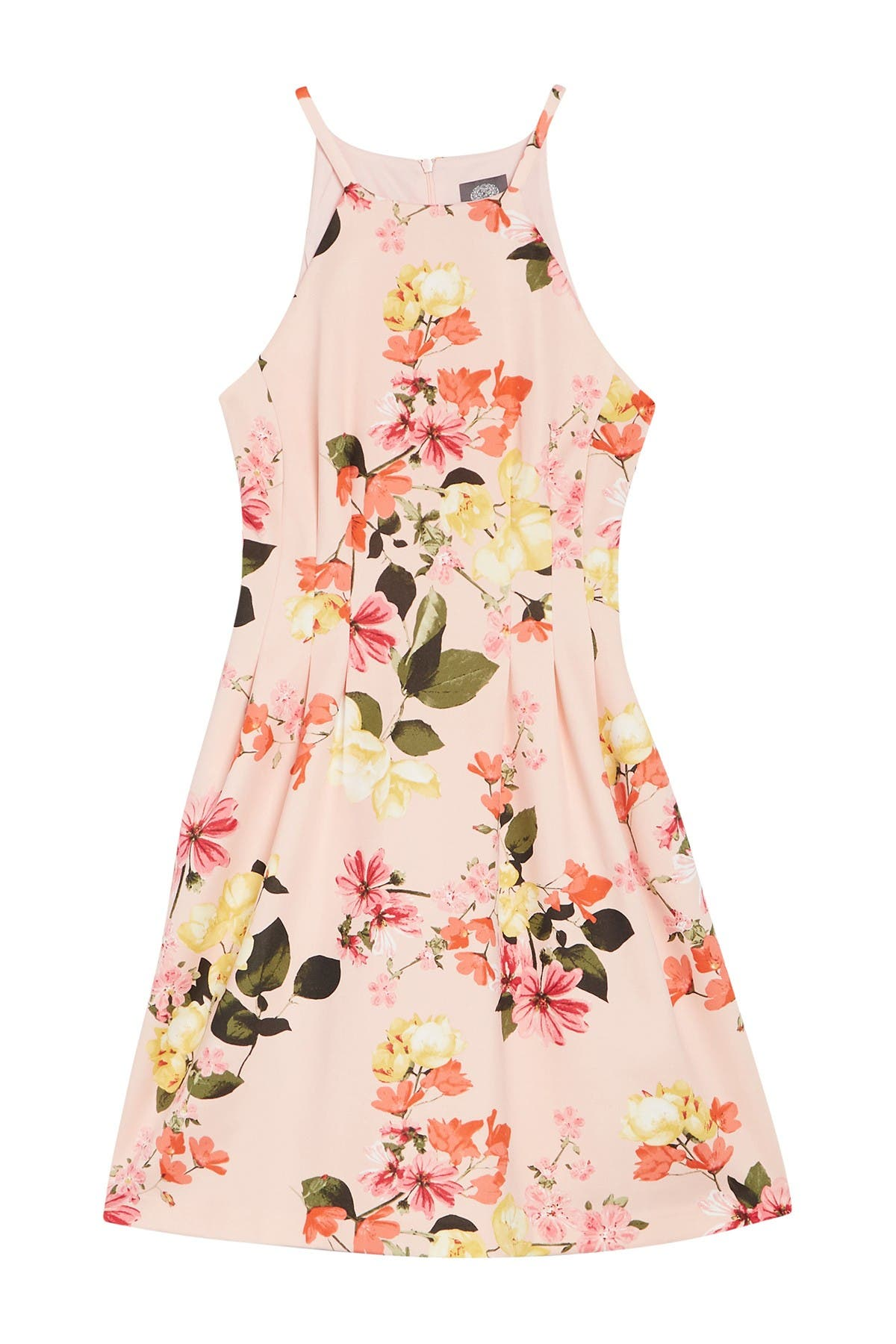 Image of Vince Camuto Printed Floral Print Scuba Halter Dress